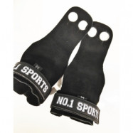 No.1 Sports Pull Up Grips Black Leather - Large