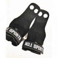 No.1 Sports Pull Up Grips Black Leather - Medium