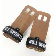No.1 Sports Pull Up Grips Brown Leather - Large