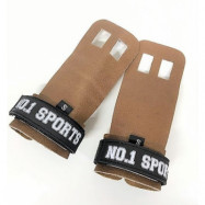 No.1 Sports Pull Up Grips Brown Leather - Small