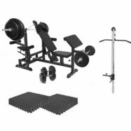 Multigym BASIC Black 100kg - Viktpaket, lats, gymgolv