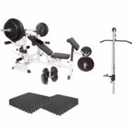 Multigym BASIC White 100kg - Viktpaket, lats, gymgolv